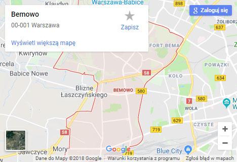 Mapa Google hydraulik Warszawa Bemowo